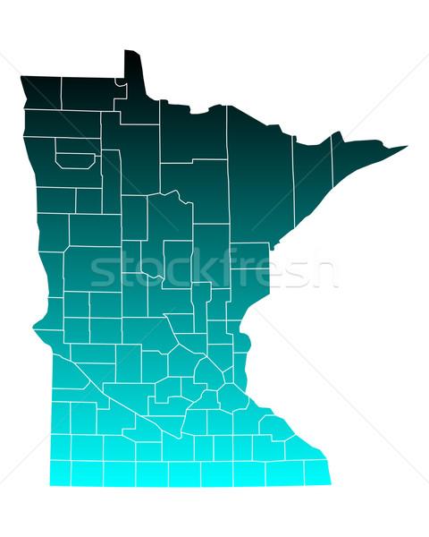Mapa Minnesota verde azul viajar EUA Foto stock © rbiedermann