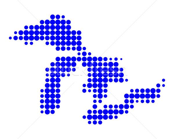 Stok fotoğraf: Harita · muhteşem · mavi · göl · model · daire