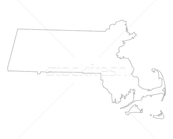 карта Массачусетс фон линия США Сток-фото © rbiedermann