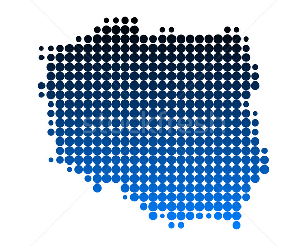 Carte Pologne bleu modèle cercle point Photo stock © rbiedermann
