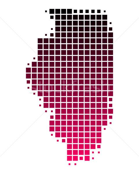 Stok fotoğraf: Harita · Illinois · model · pembe · Amerika · mor