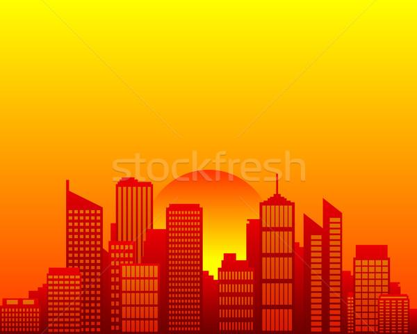 Sol casa pôr do sol laranja urbano Foto stock © rbiedermann