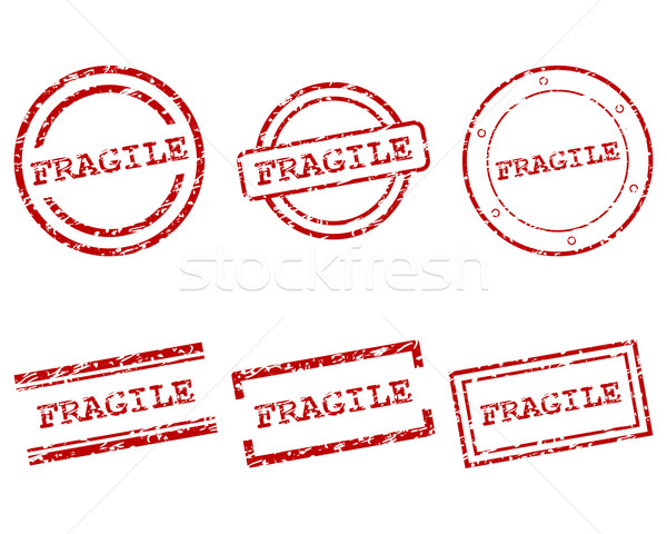 Fragile timbres design lettre tampon tag Photo stock © rbiedermann