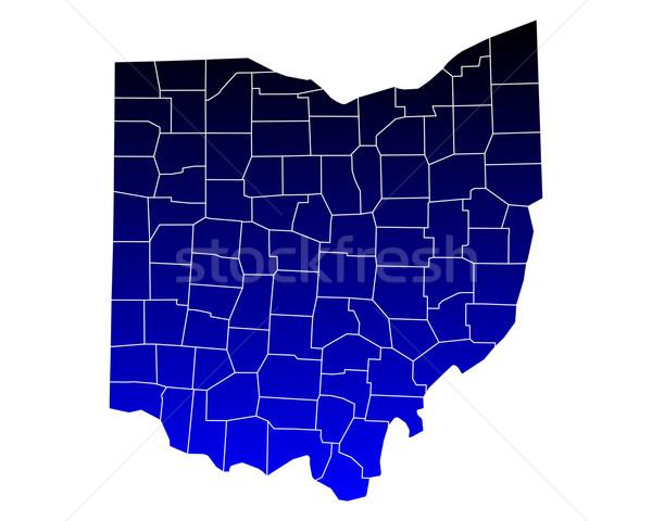 Kaart Ohio Blauw reizen USA geïsoleerd Stockfoto © rbiedermann