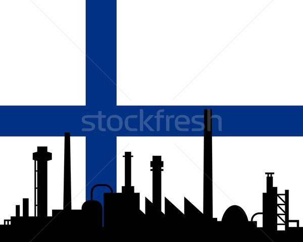 Indústria bandeira Finlândia edifício paisagem tecnologia Foto stock © rbiedermann