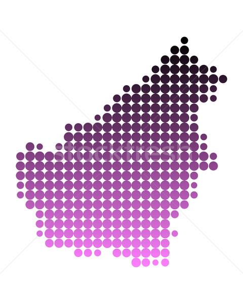 地圖 婆羅洲 島 模式 粉紅色 圓 商業照片 © rbiedermann