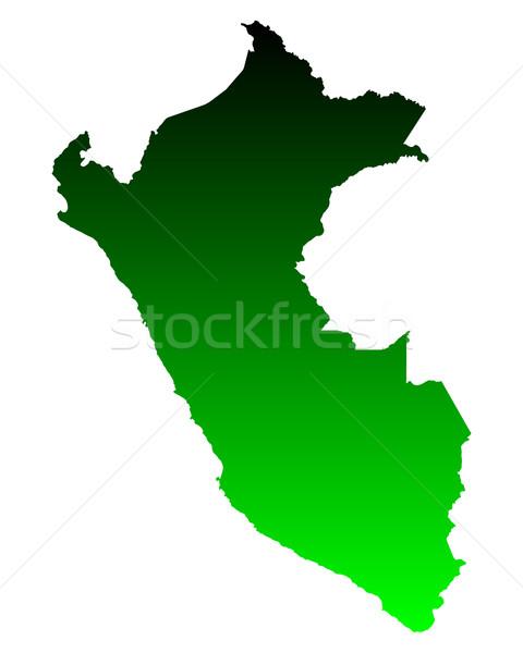 Mapa Perú verde vector aislado Foto stock © rbiedermann