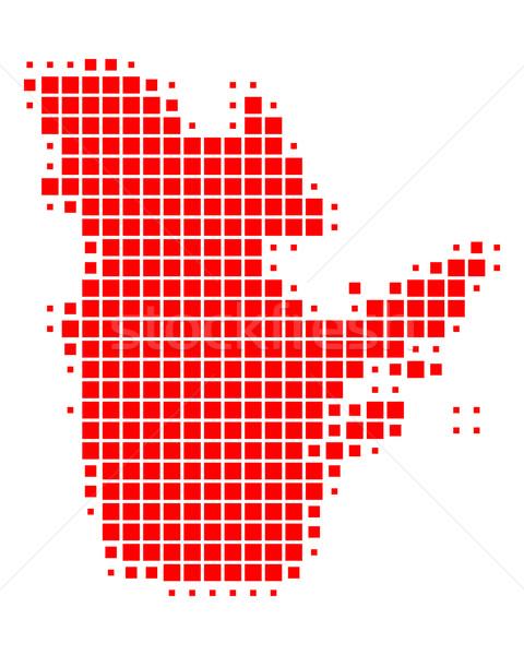 Kaart Quebec reizen Rood patroon vierkante Stockfoto © rbiedermann