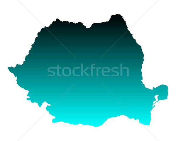 Mapa Romênia verde azul viajar vetor Foto stock © rbiedermann