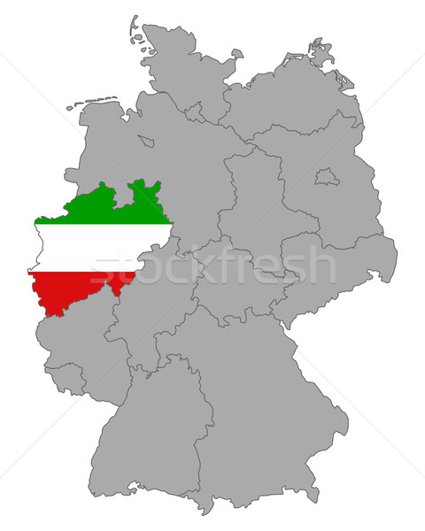 Map of Germany with flag of North Rhine-Westphalia Stock photo © rbiedermann