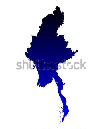 地図 ミャンマー 青 ベクトル 孤立した 実例 ストックフォト © rbiedermann