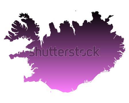 Kaart IJsland roze paars vector geïsoleerd Stockfoto © rbiedermann