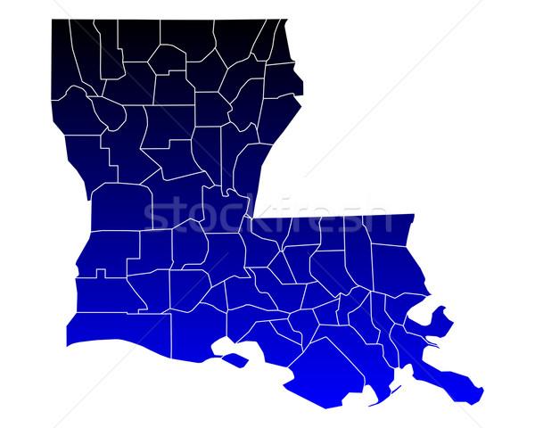 Mappa Louisiana blu viaggio USA isolato Foto d'archivio © rbiedermann