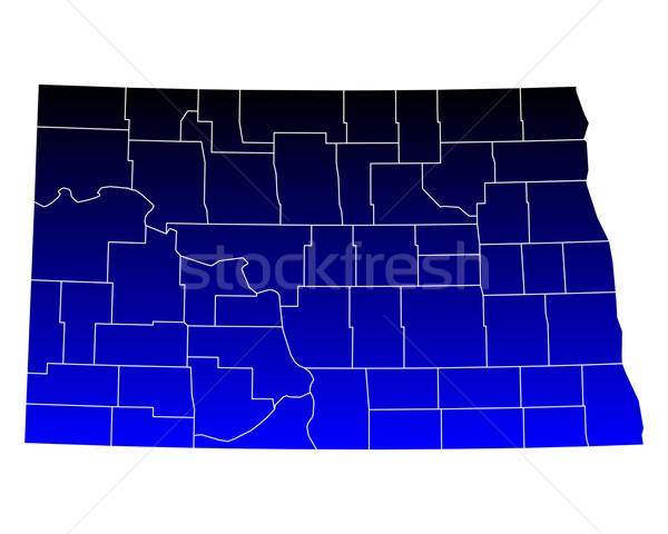 Kaart North Dakota Blauw USA vector geïsoleerd Stockfoto © rbiedermann