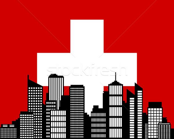 şehir bayrak İsviçre ev ufuk çizgisi siluet Stok fotoğraf © rbiedermann