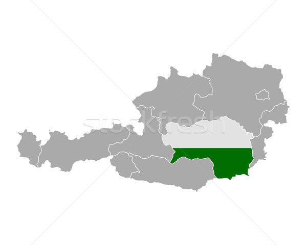 Map of Austria with flag of Styria Stock photo © rbiedermann