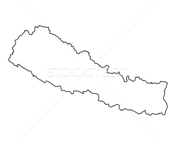 Harita Nepal vektör yalıtılmış gri Stok fotoğraf © rbiedermann