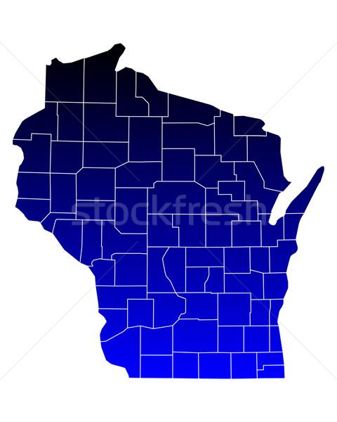 Stock fotó: Térkép · Wisconsin · kék · utazás · USA · izolált