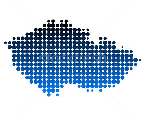 Foto stock: Mapa · República · Checa · padrão · europa · círculo · ponto