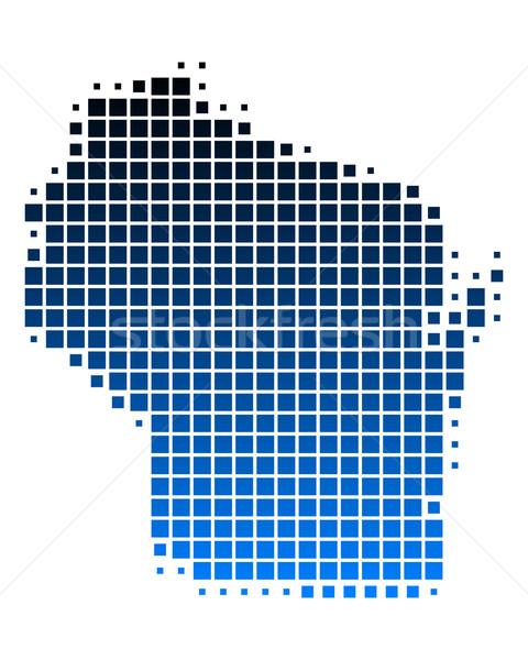 карта Висконсин синий шаблон США квадратный Сток-фото © rbiedermann