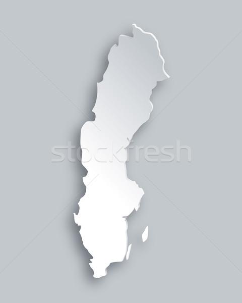 Kaart Zweden papier abstract achtergrond reizen Stockfoto © rbiedermann
