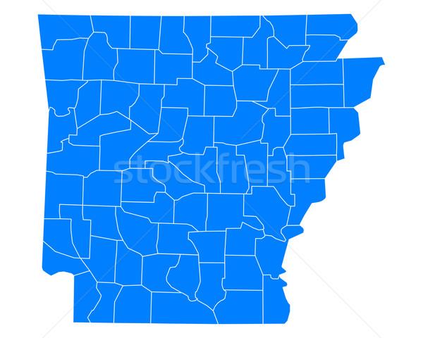 Térkép Arkansas háttér kék vonal vektor Stock fotó © rbiedermann