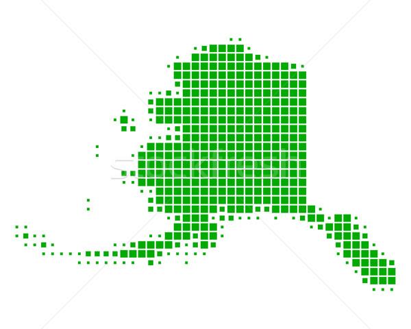 Carte Alaska vert modèle USA carré Photo stock © rbiedermann