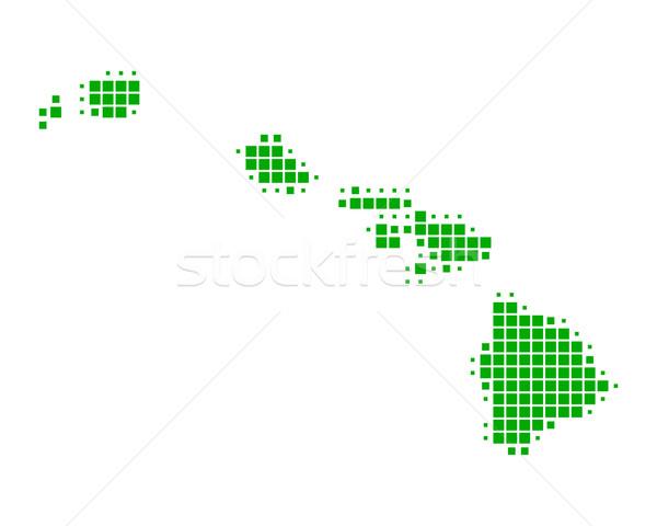 Mapa Havaí verde ilha padrão américa Foto stock © rbiedermann