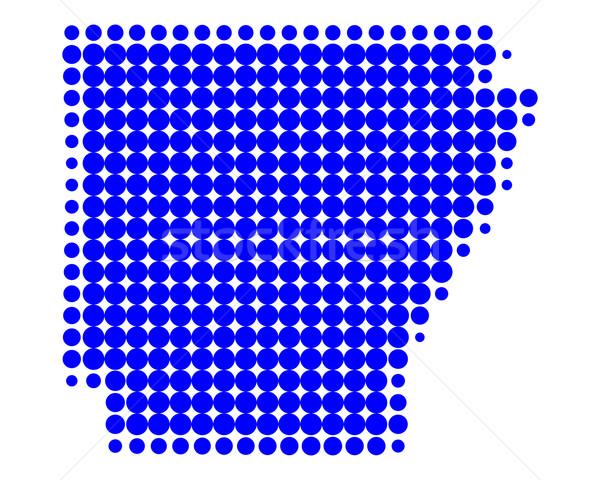 Térkép Arkansas kék minta Amerika kör Stock fotó © rbiedermann
