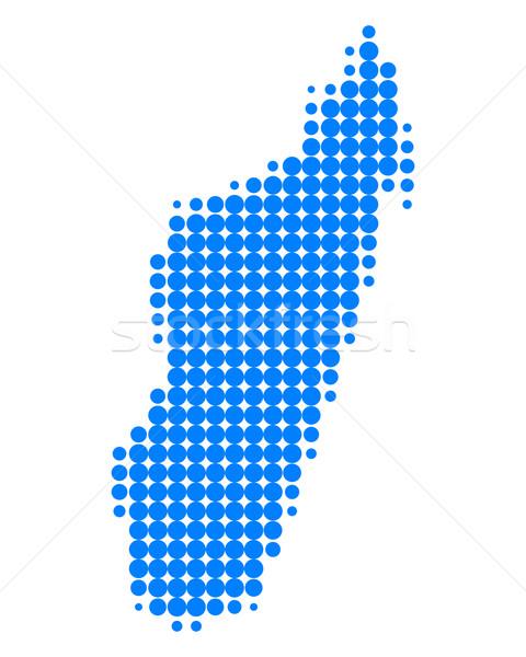 Carte Madagascar bleu île modèle cercle Photo stock © rbiedermann