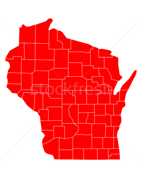 Harita Wisconsin seyahat kırmızı ABD yalıtılmış Stok fotoğraf © rbiedermann