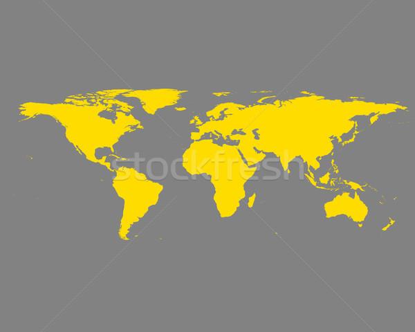 地図 世界地図 世界 黄色 ベクトル 孤立した ストックフォト © rbiedermann