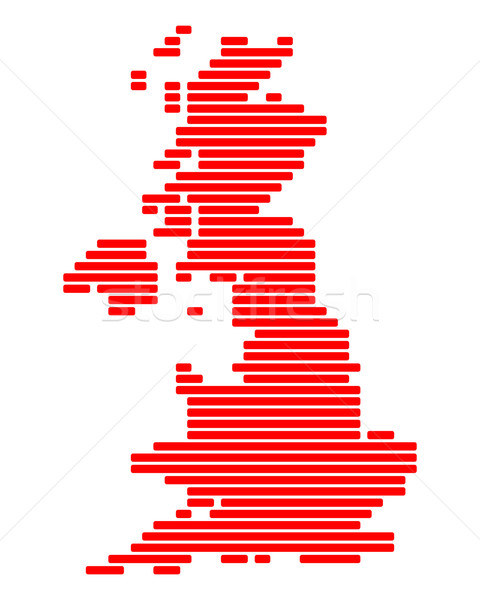 Mappa gran bretagna rosso Inghilterra line linee Foto d'archivio © rbiedermann
