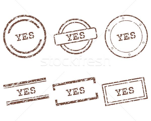 Tak znaczków projektu pieczęć graficzne tag Zdjęcia stock © rbiedermann