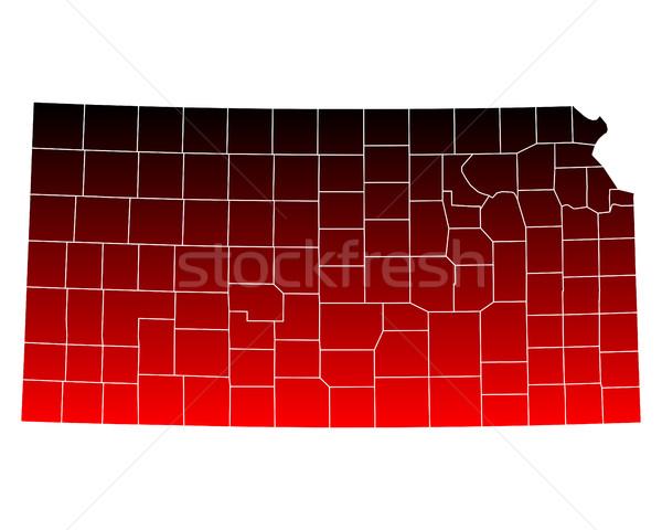 Harita Kansas kırmızı ABD vektör yalıtılmış Stok fotoğraf © rbiedermann