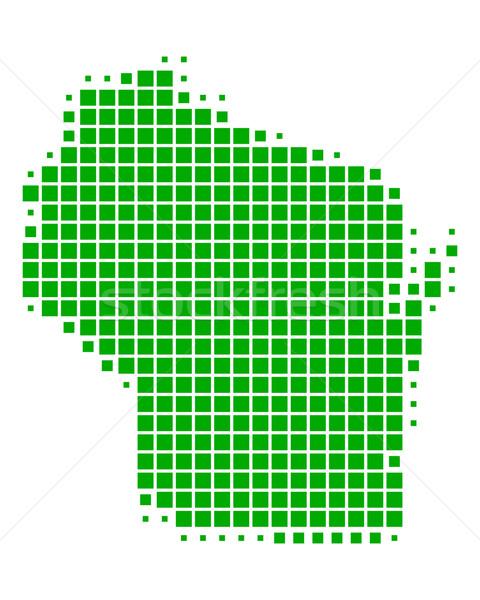 карта Висконсин зеленый шаблон США квадратный Сток-фото © rbiedermann