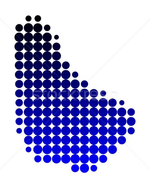 Kaart Barbados Blauw eiland patroon cirkel Stockfoto © rbiedermann