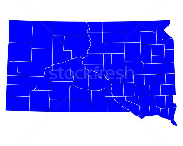Kaart South Dakota Blauw USA vector geïsoleerd Stockfoto © rbiedermann