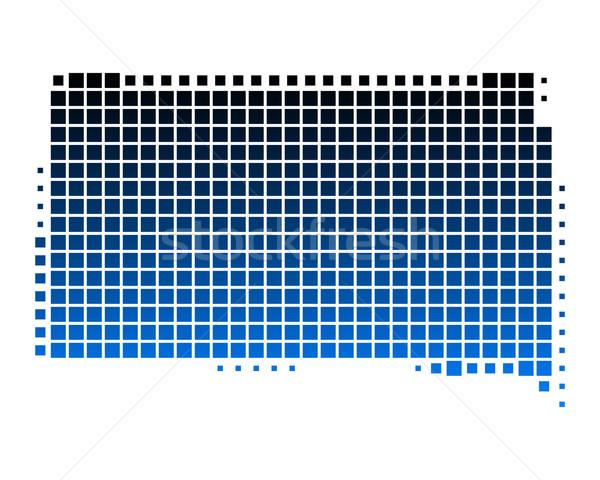 Kaart South Dakota Blauw patroon amerika vierkante Stockfoto © rbiedermann