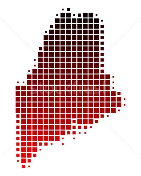 Kaart Maine Rood patroon amerika vierkante Stockfoto © rbiedermann