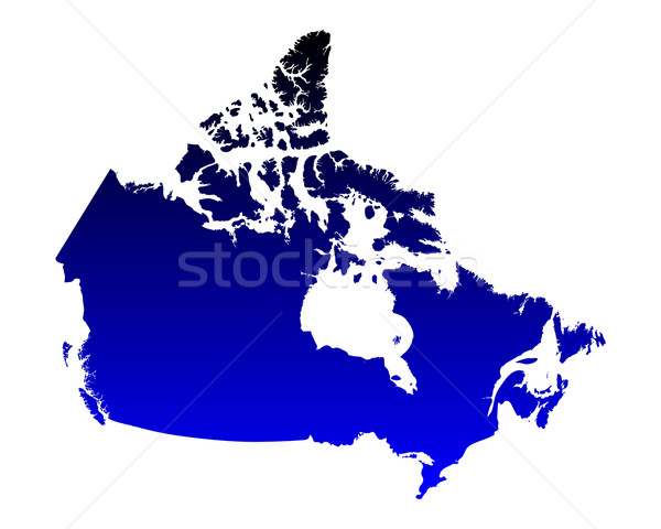 Carte Canada bleu vecteur isolé Photo stock © rbiedermann