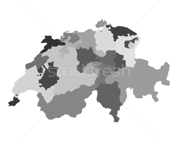 Harita İsviçre vektör yalıtılmış örnek gri Stok fotoğraf © rbiedermann