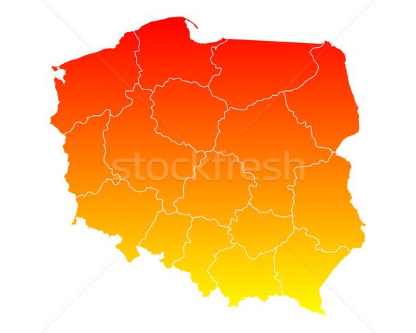 Mapa Polonia viaje aislado ilustración Foto stock © rbiedermann