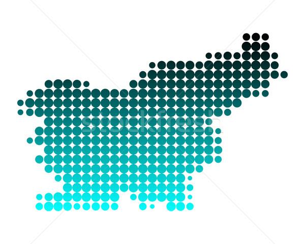 Mappa Slovenia verde blu pattern cerchio Foto d'archivio © rbiedermann