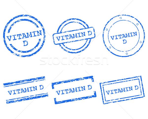 Vitamine d postzegels gezondheid stempel grafische verkoop Stockfoto © rbiedermann