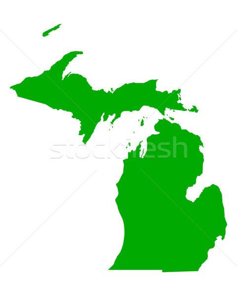 Mapa Michigan verde viaje América EUA Foto stock © rbiedermann