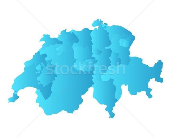 Harita İsviçre mavi vektör yalıtılmış örnek Stok fotoğraf © rbiedermann