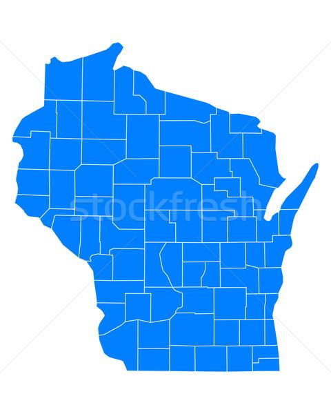 Stok fotoğraf: Harita · Wisconsin · mavi · seyahat · ABD · yalıtılmış