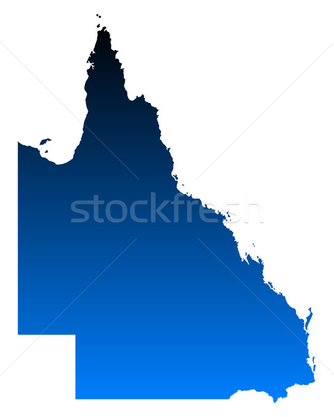 Carte queensland bleu vecteur Australie isolé Photo stock © rbiedermann