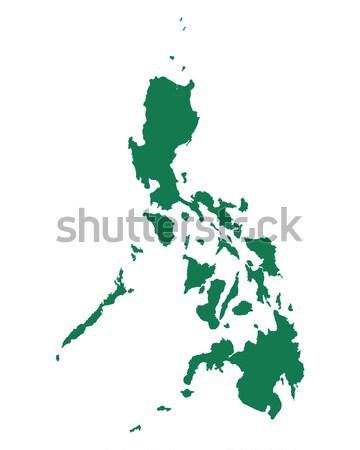 Carte Philippines vert bleu Voyage vecteur Photo stock © rbiedermann